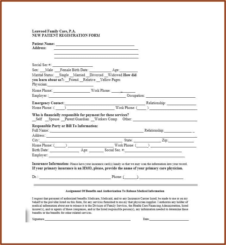 Patient Registration Form Template Free Download