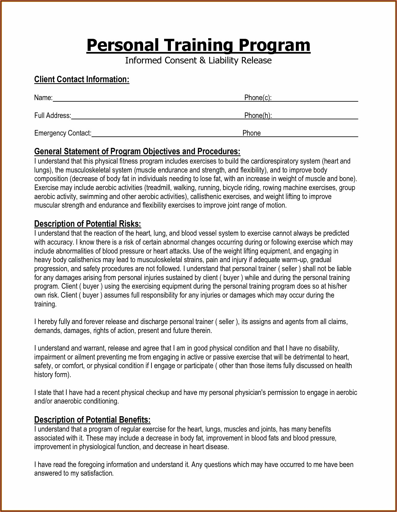 Personal Trainer Waiver And Release Form