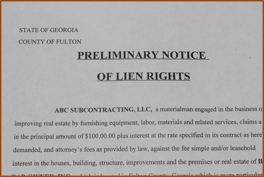 Preliminary Lien Notice Form Georgia