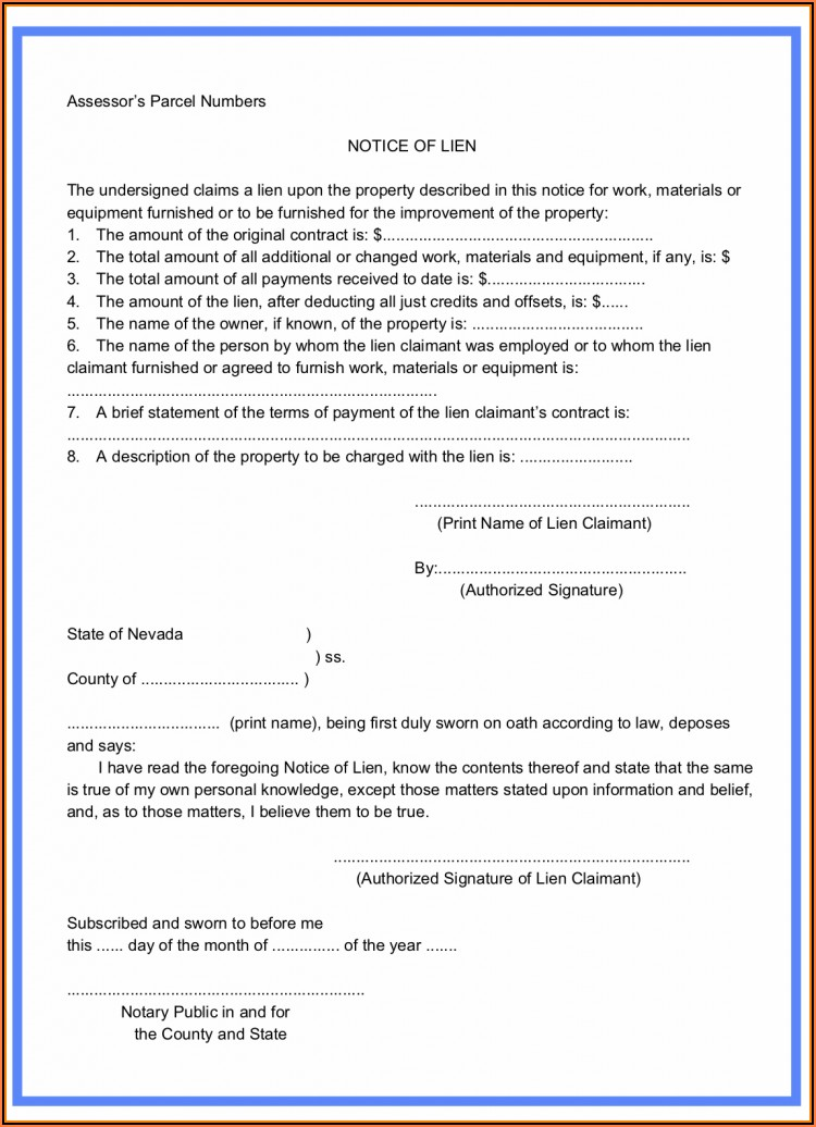 Preliminary Lien Notice Form Nevada