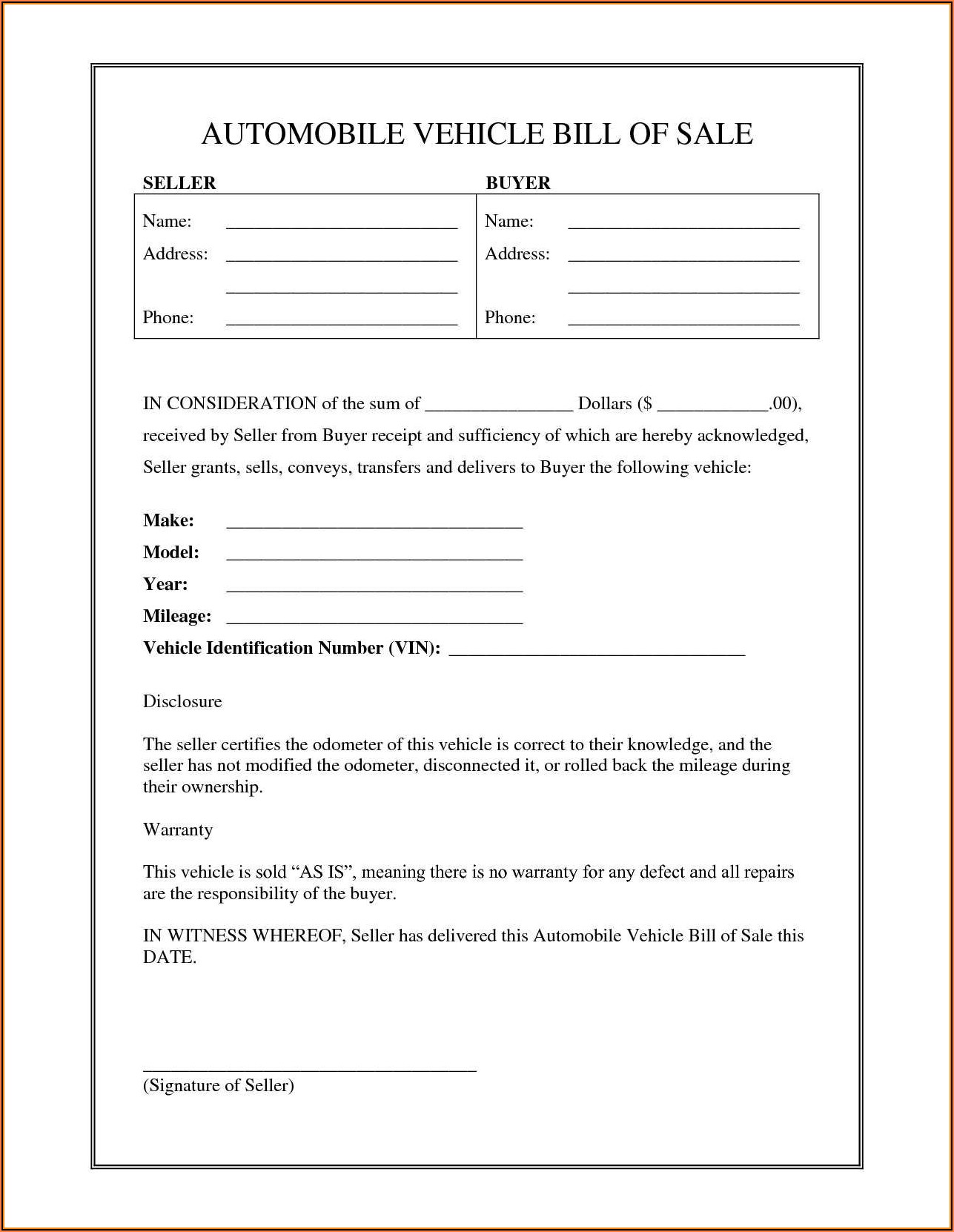 Printable Auto Bill Of Sale Form Nh