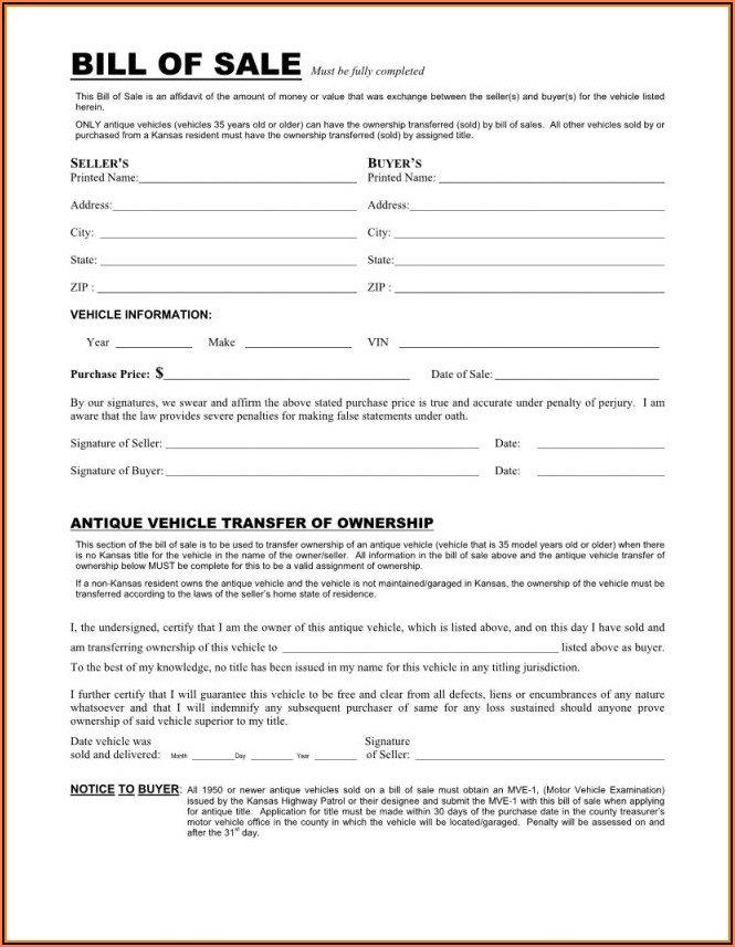 Printable Automobile Bill Of Sale Form