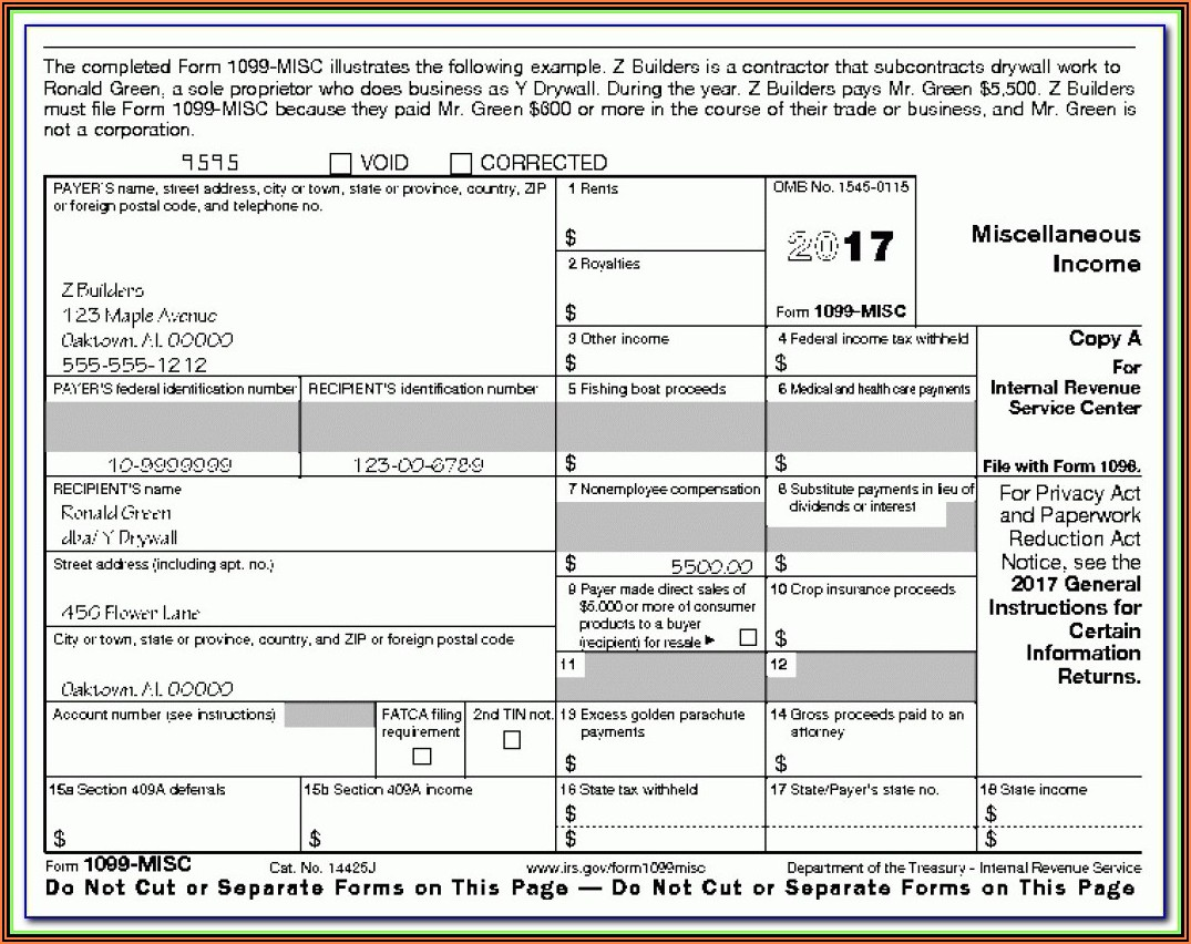 Printable Form 1099 Misc 2017