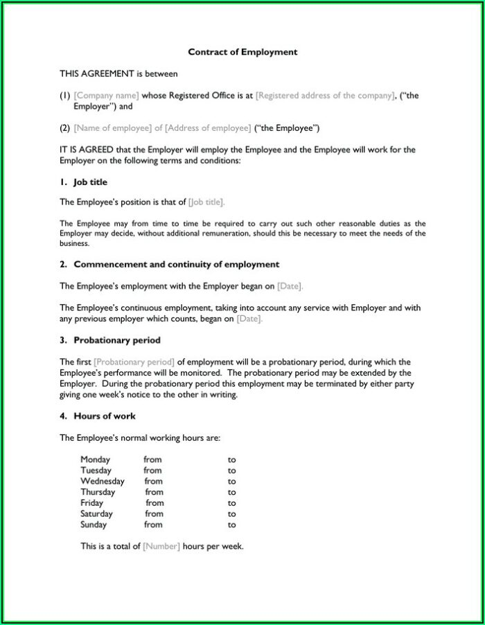 Probationary Period Contract Of Employment Template