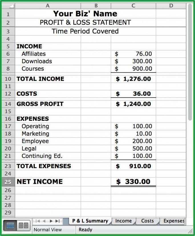 Profit Loss Statement Template Simple