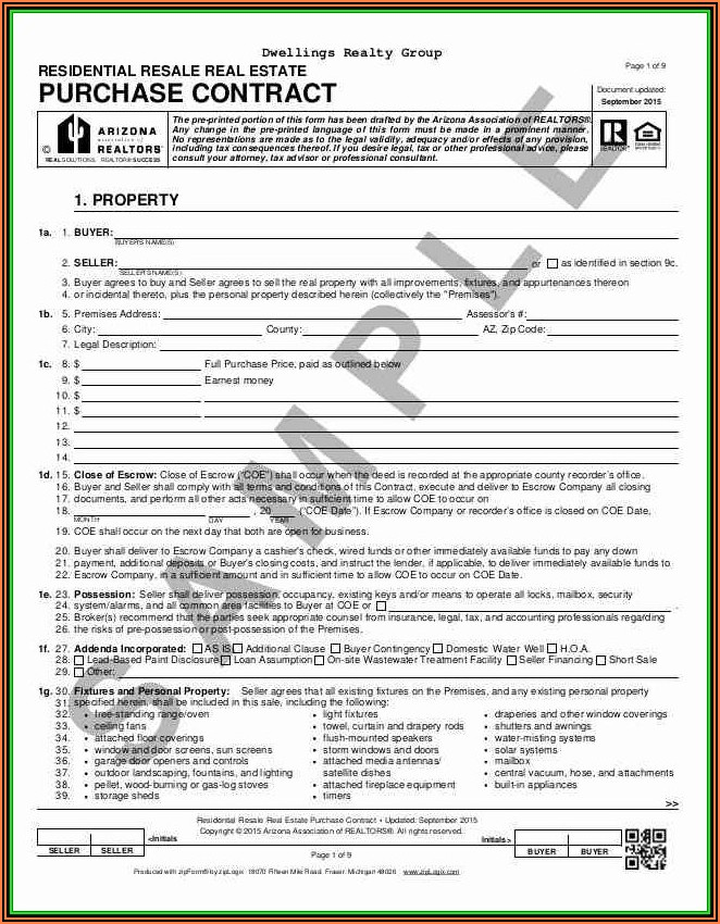 Purchase Agreement Form Michigan