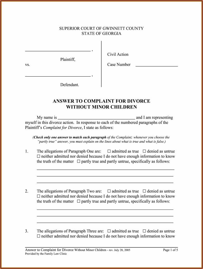 Quit Claim Deed Form Gwinnett County Georgia
