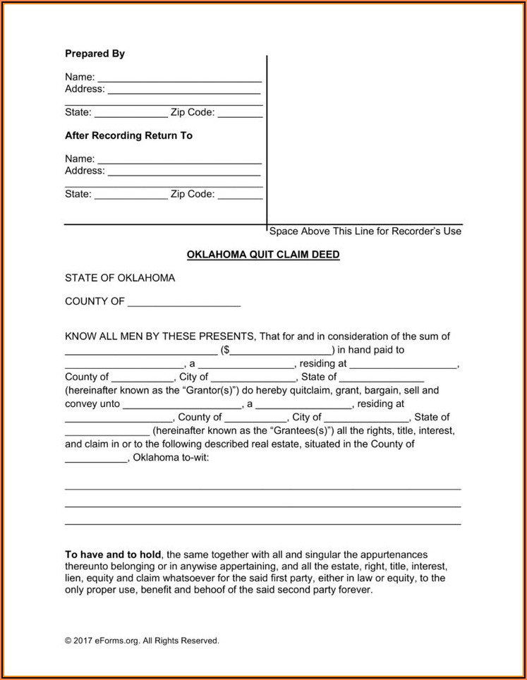 Quit Claim Deed Form Oklahoma Pdf