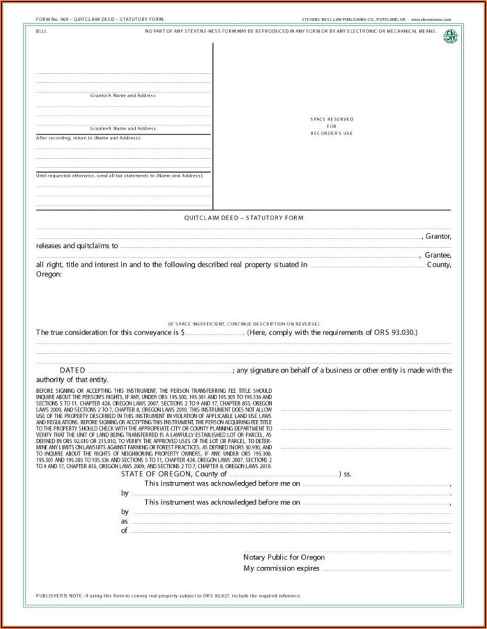 Quit Claim Deed Form State Of Oregon