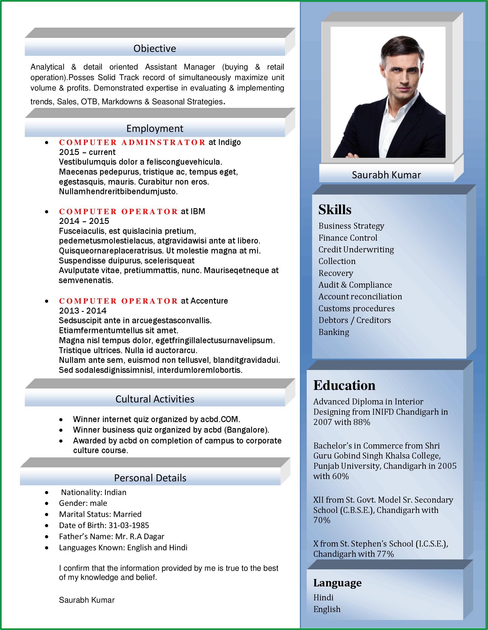 Resume Template For Hr Executive