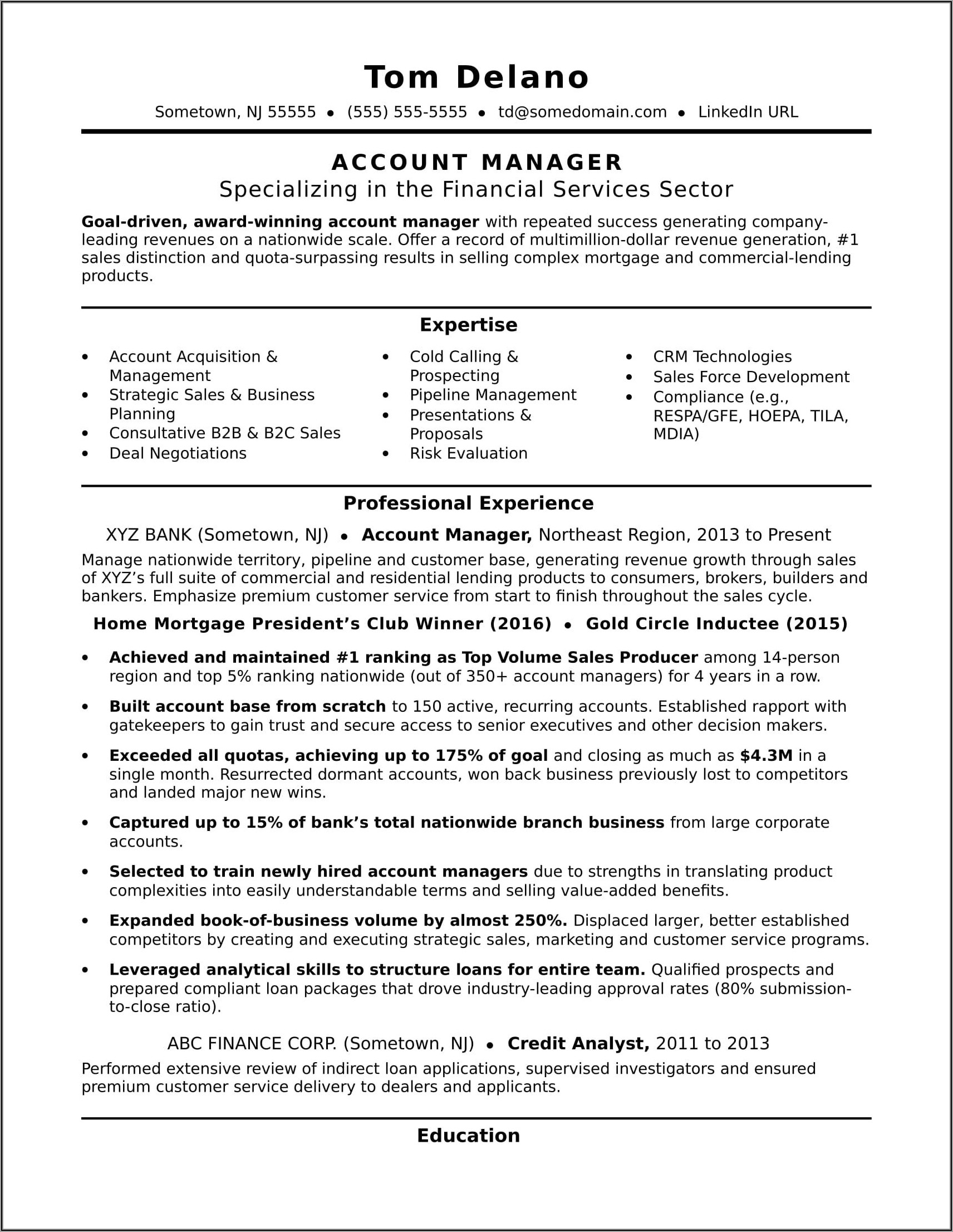Resume Templates For Account Executive