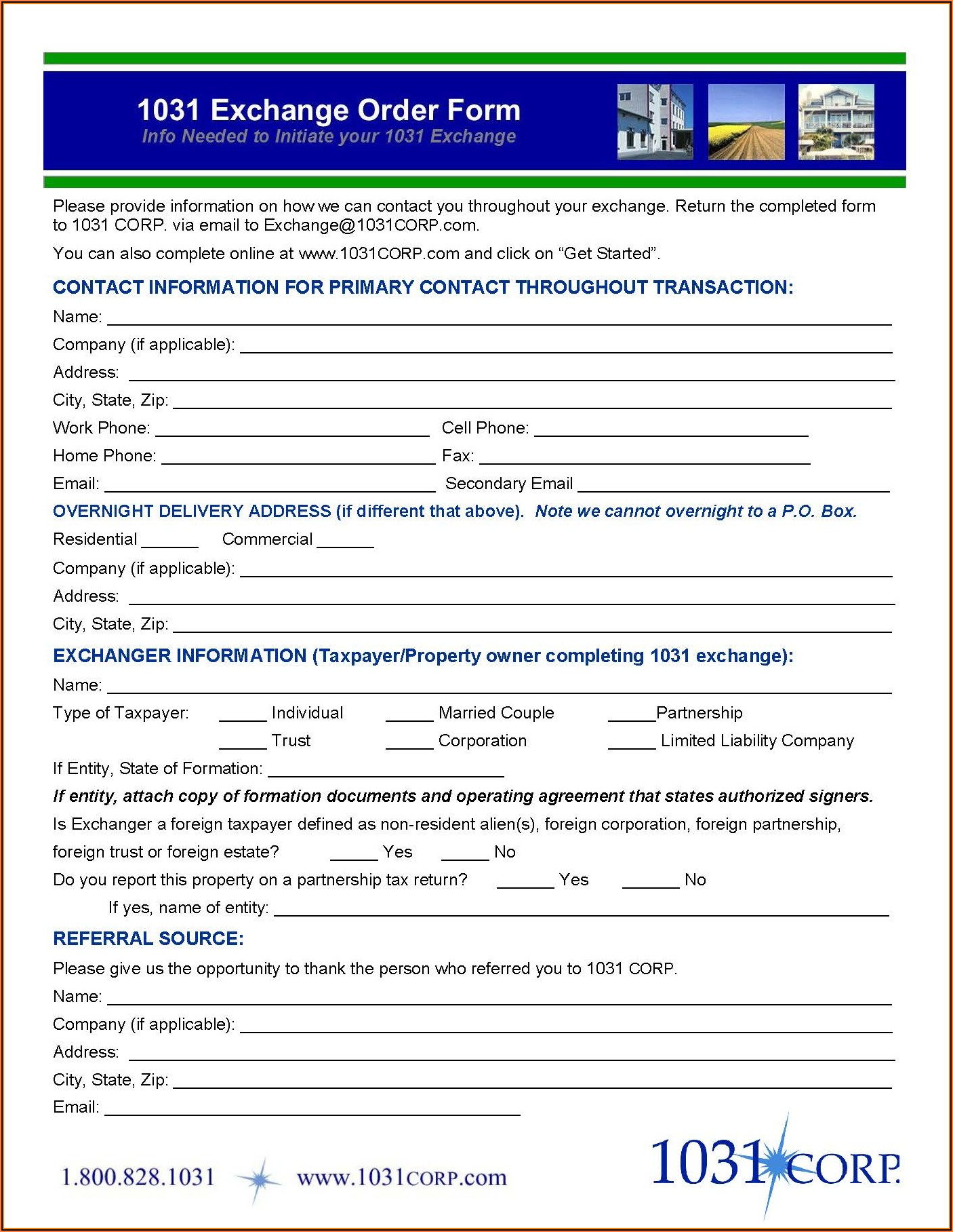 Reverse 1031 Exchange Forms