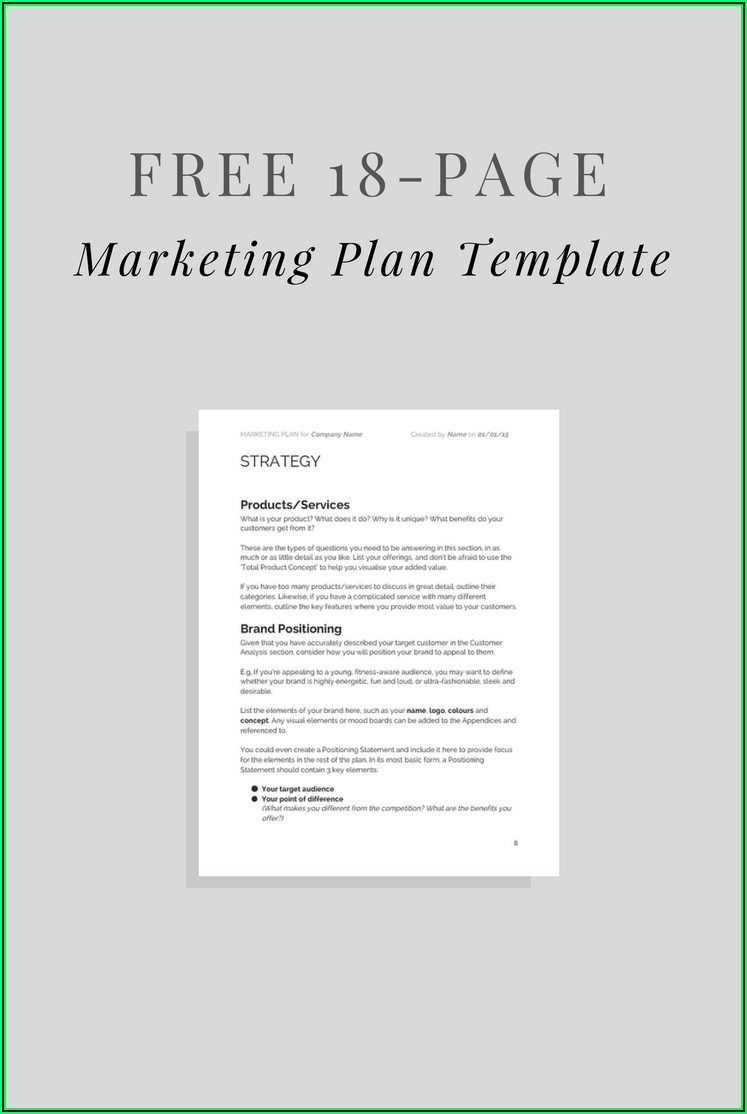 Simple Marketing Plan Template Word Free