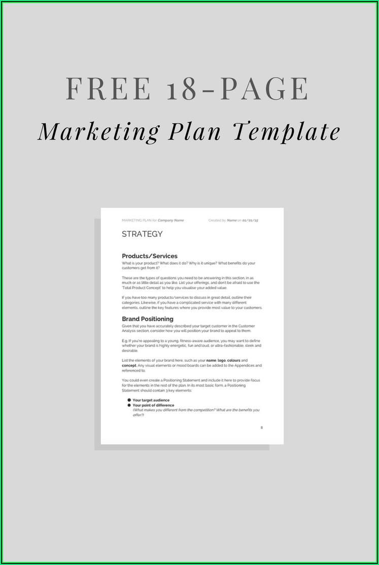 Simple Marketing Plan Template Word Free