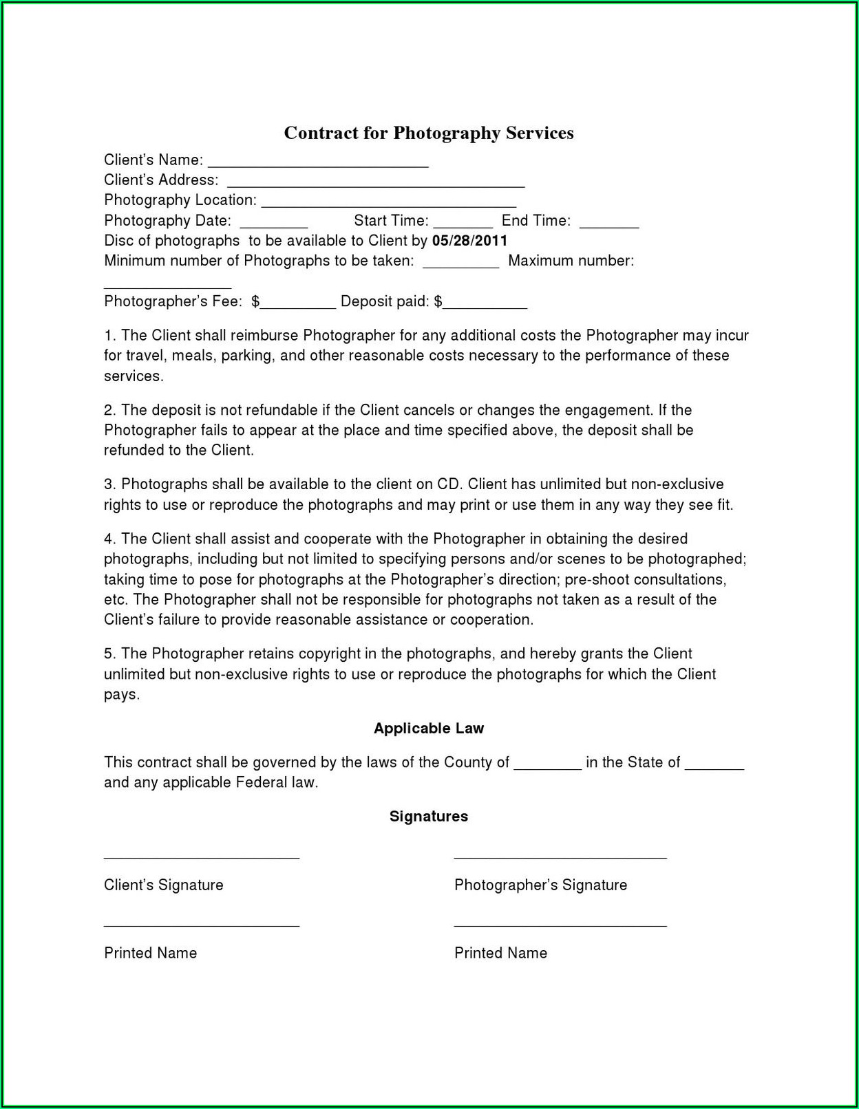 Simple Photography Contract Template Free