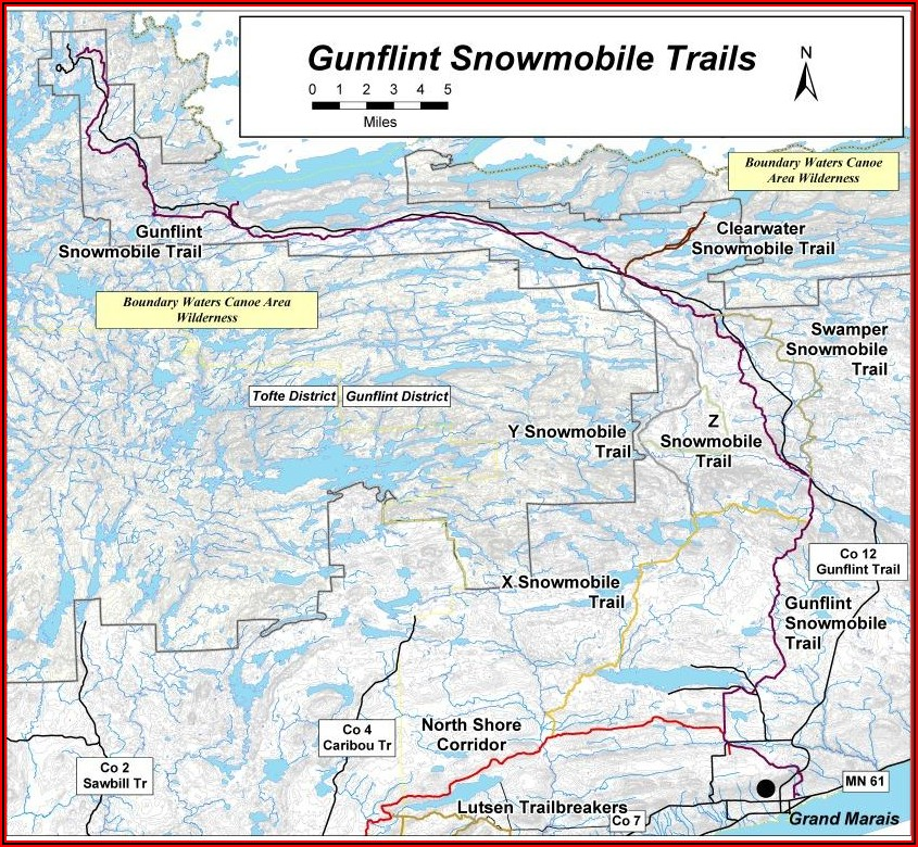 Snowmobile Trail Map Finland Mn