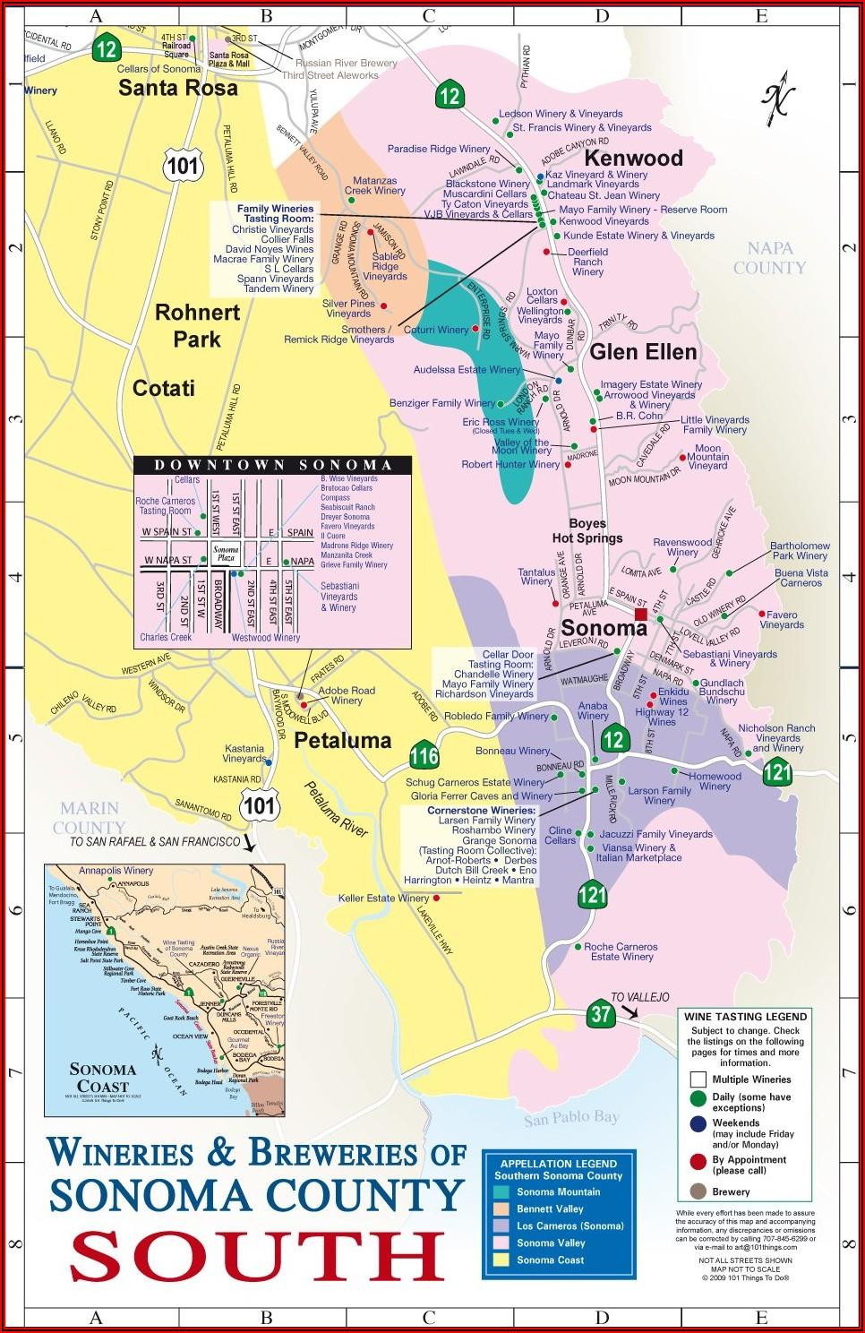 Sonoma Lodging Map