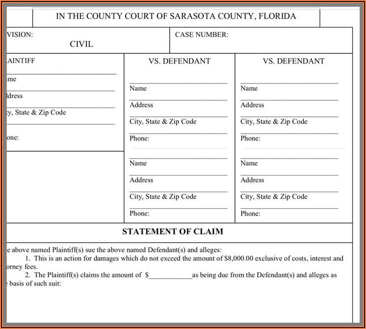 State Of Florida Small Claims Forms