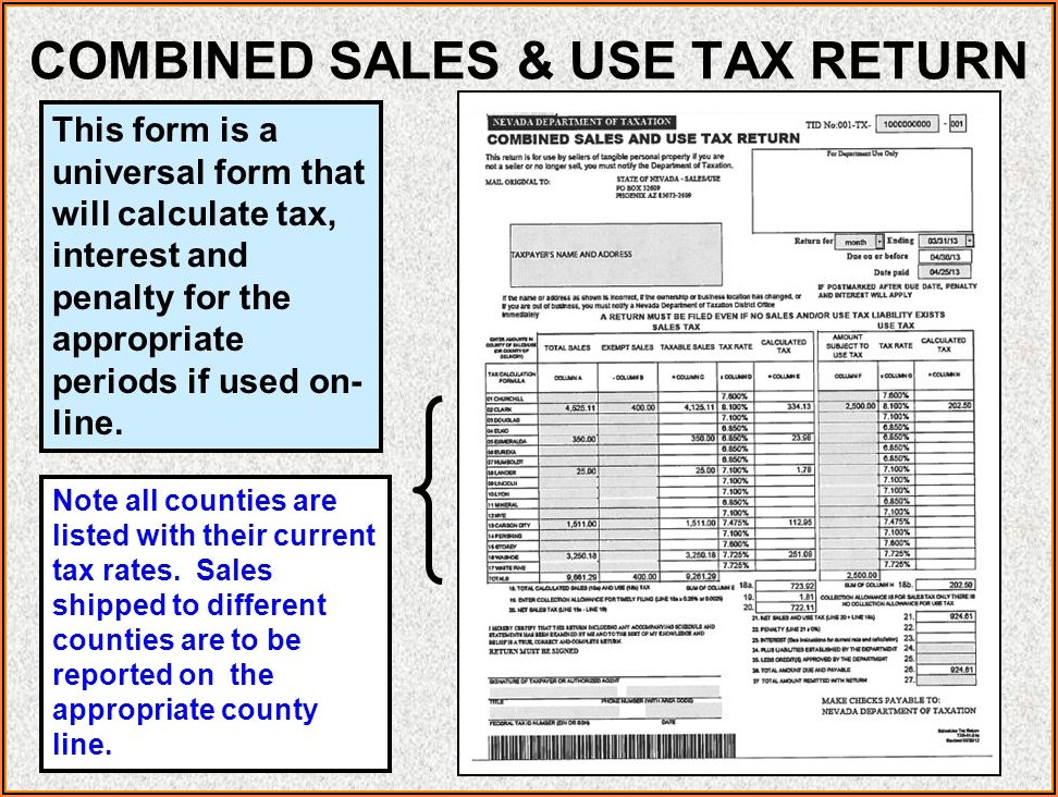 State Of Nevada Combined Sales And Use Tax Return Form