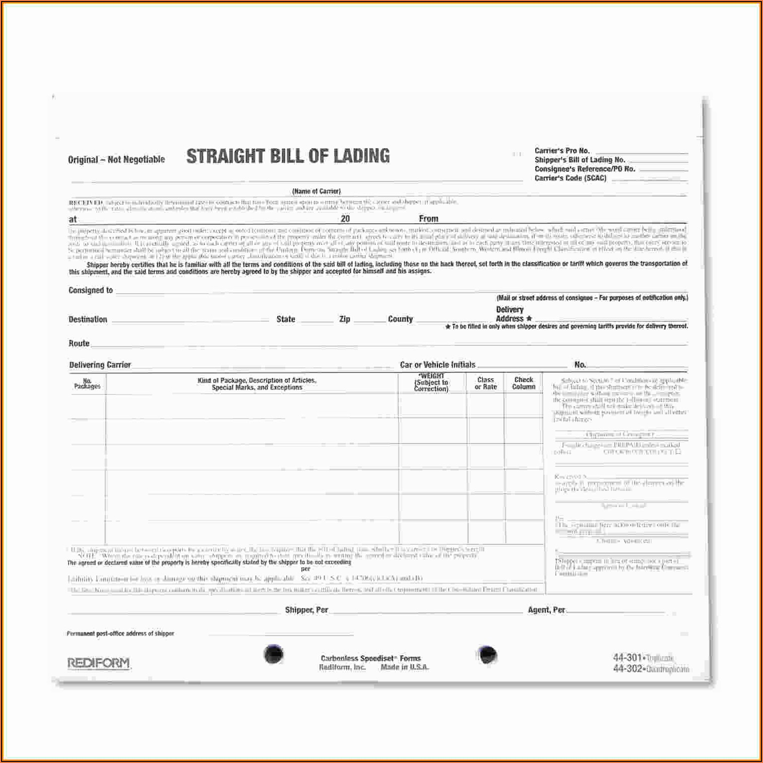 Straight Bill Of Lading Short Form Free Download