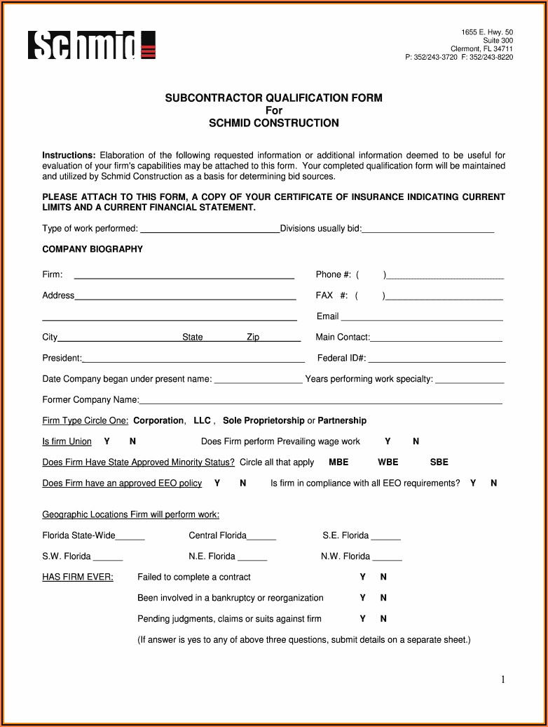 Subcontractor Prequalification Form Template