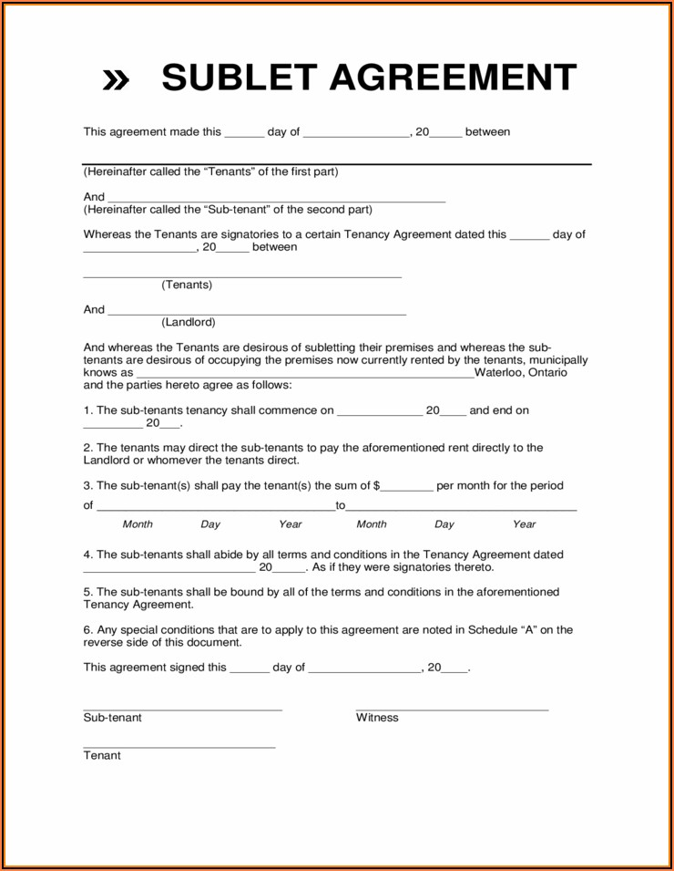 Sublet Lease Agreement Form