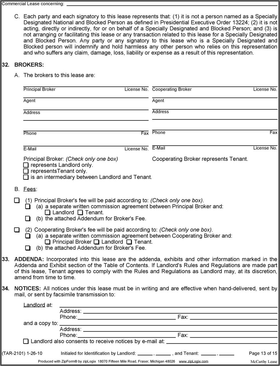 Tar 2101 Commercial Lease Form