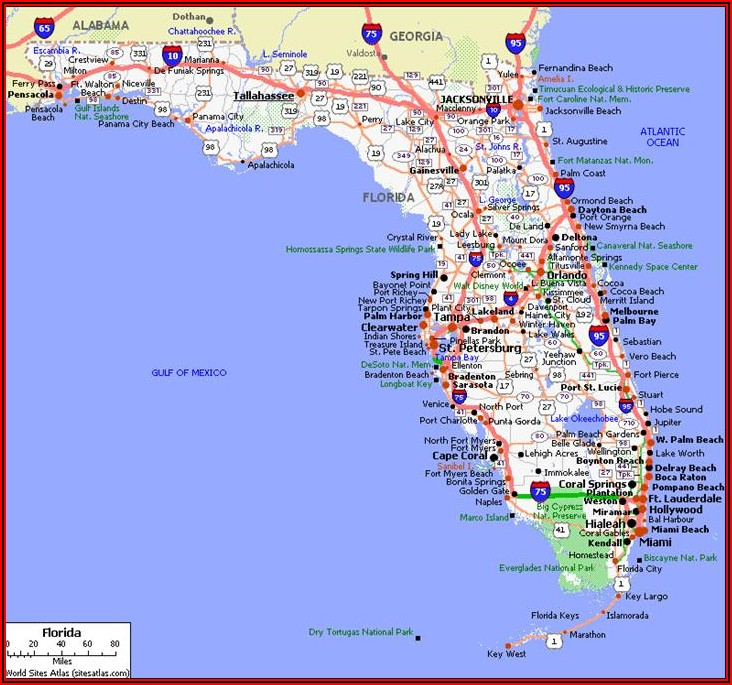 Travel Map Of Georgia And Florida