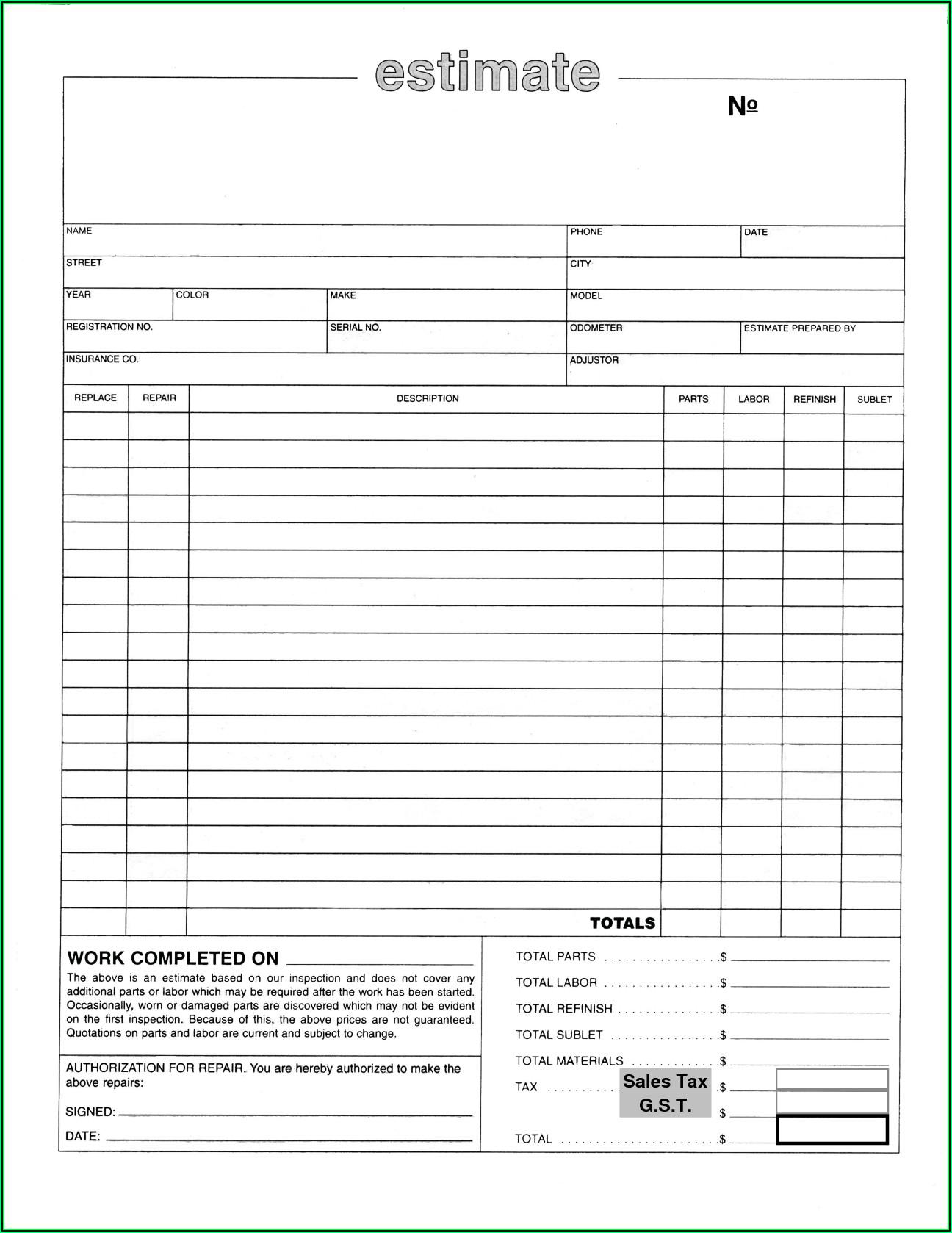 Vehicle Repair Estimate Form