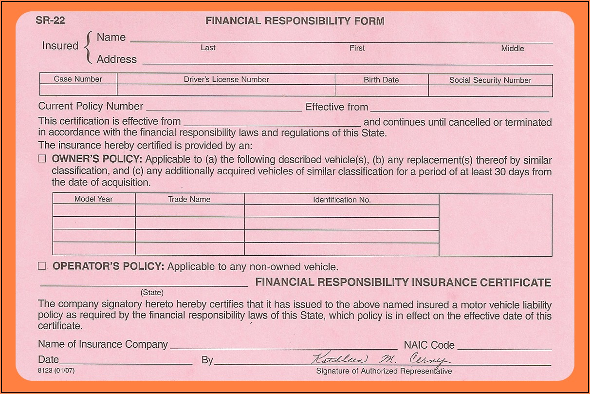 What Is An Sr 22 Insurance Form