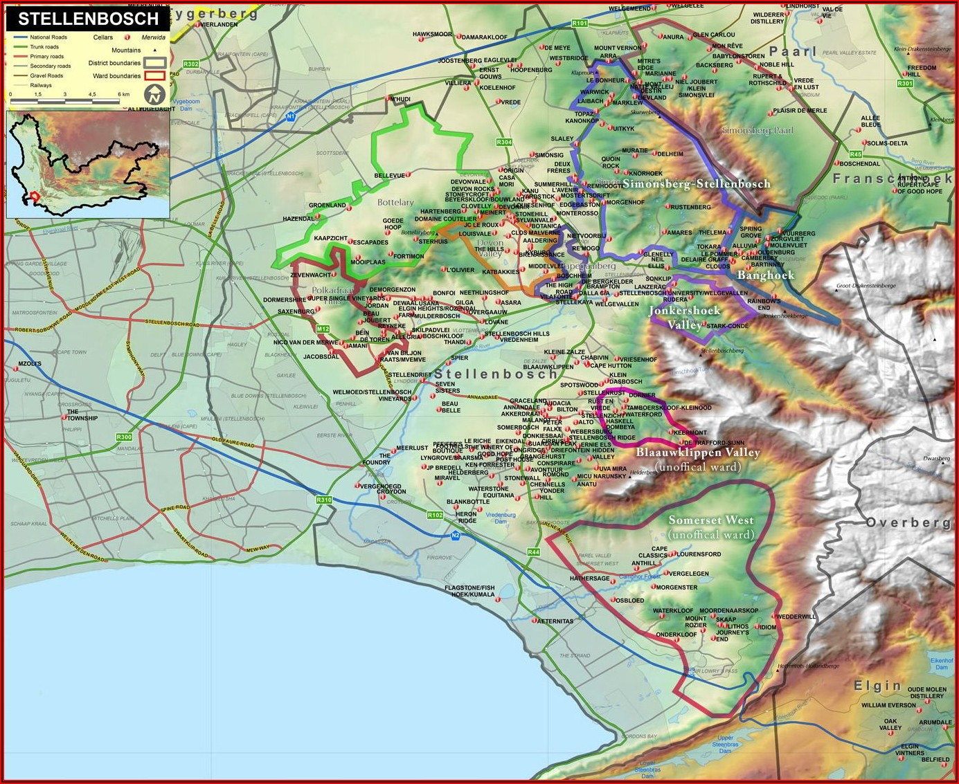 Wine Region Map Of South Africa