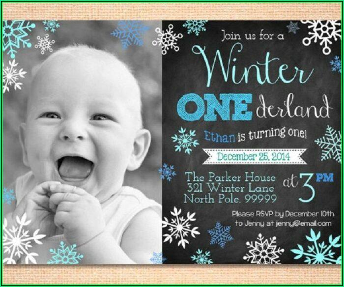 Winter Onederland Birthday Invitations Template
