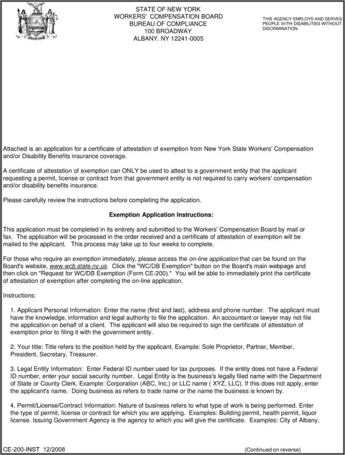 Workers Compensation Board Form Ce 200