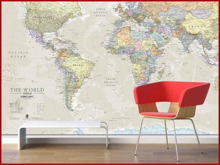 World Map Wall Mural Uk