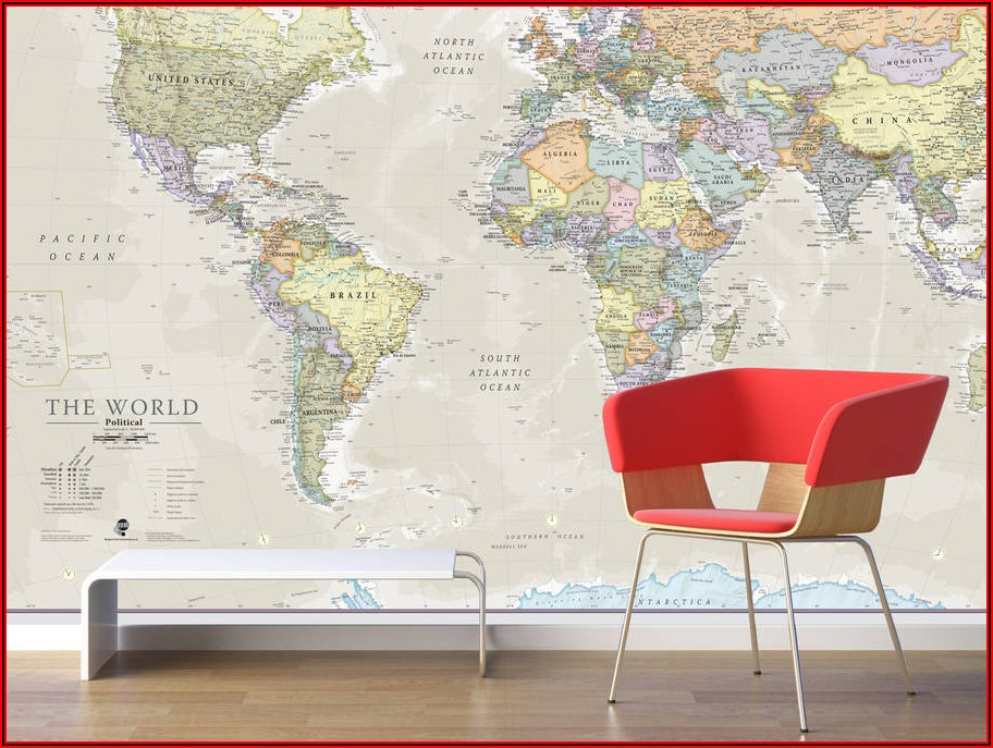 World Map Wall Mural Uk