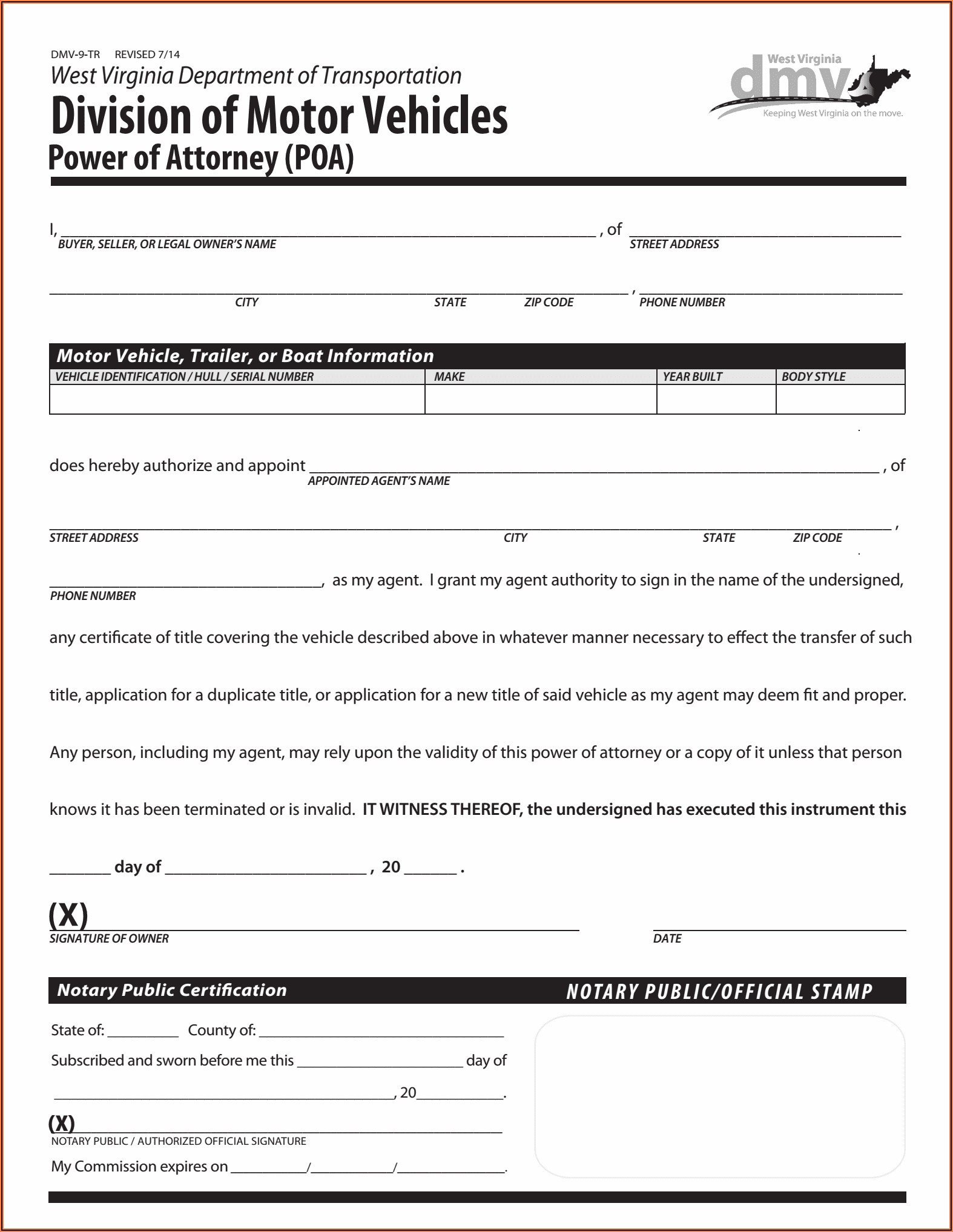 Wv Durable Power Of Attorney Form Free
