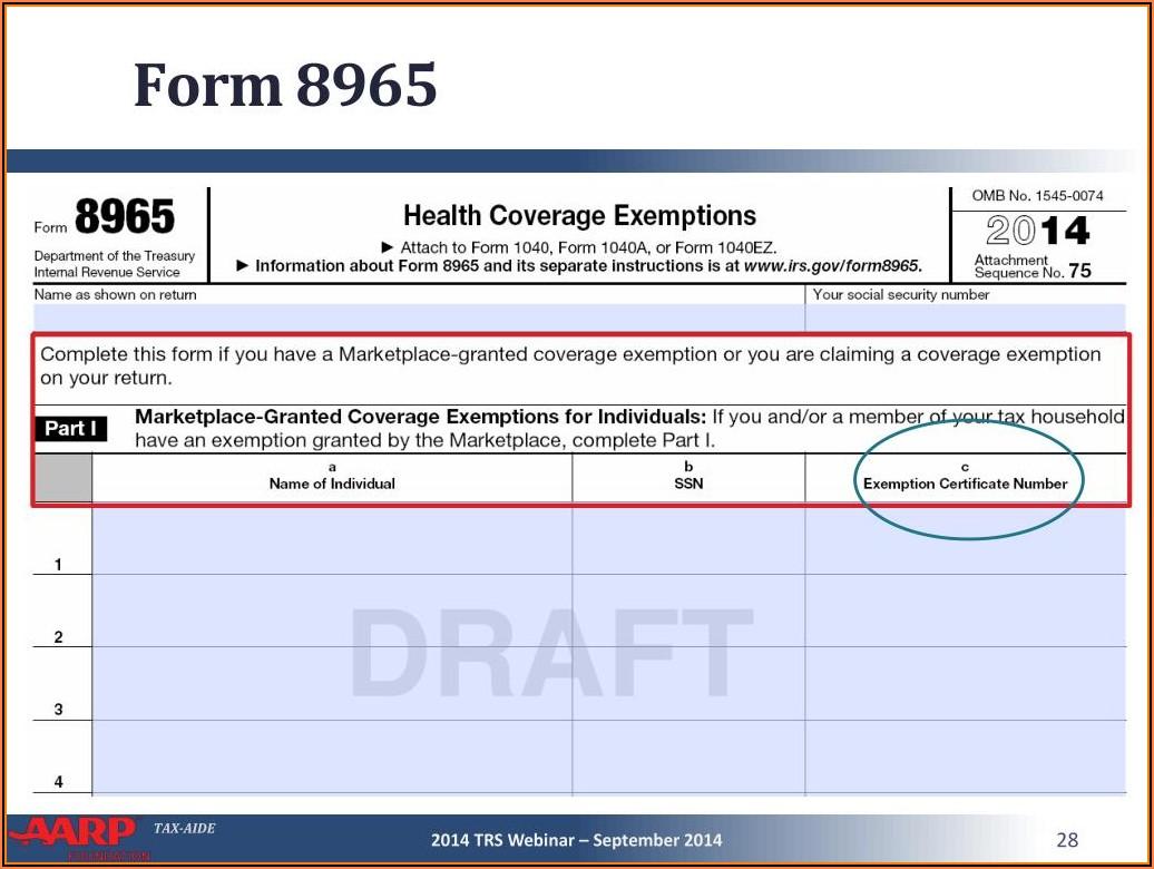 1040ez 2014 Form 8965