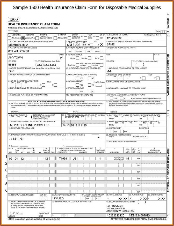 1500 Health Insurance Claim Form Example