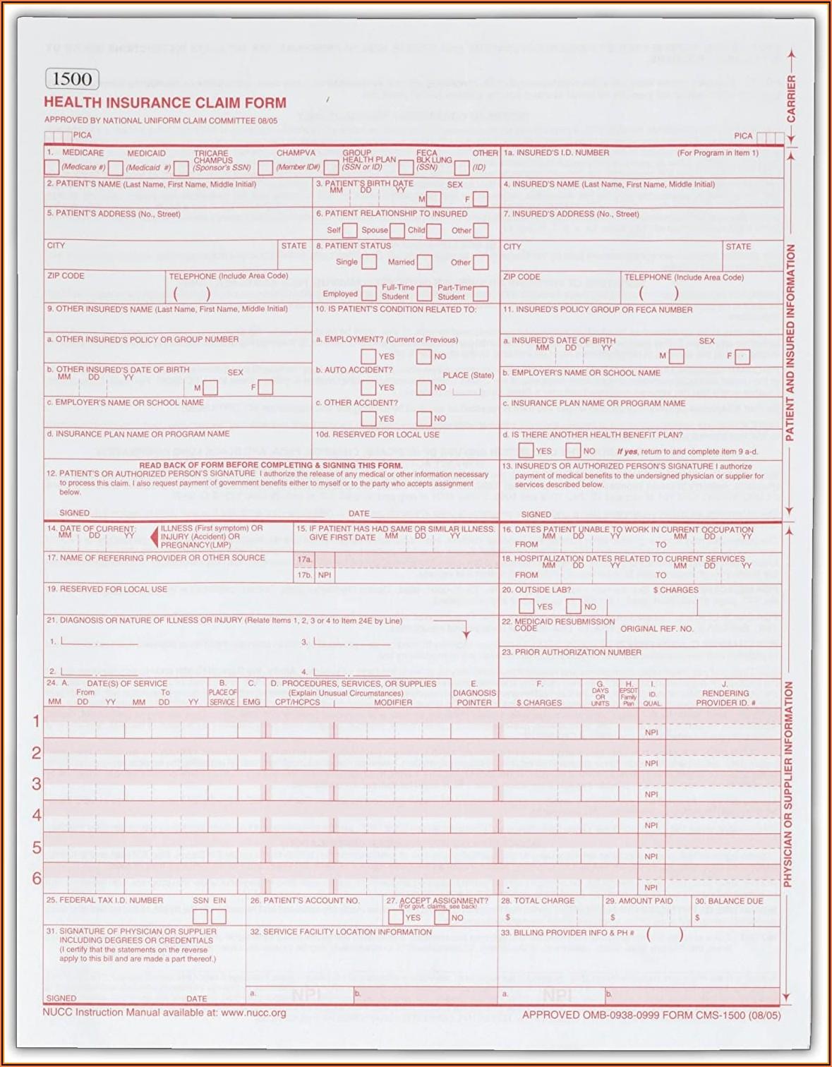 1500 Insurance Claim Form