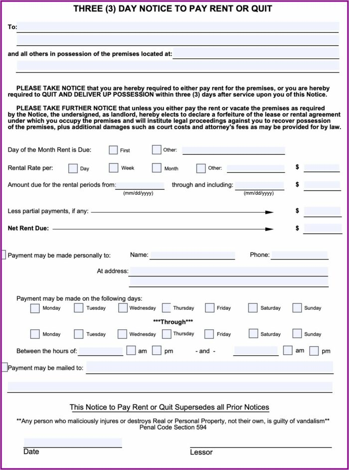 3 Day Pay Or Quit Notice California Free Forms