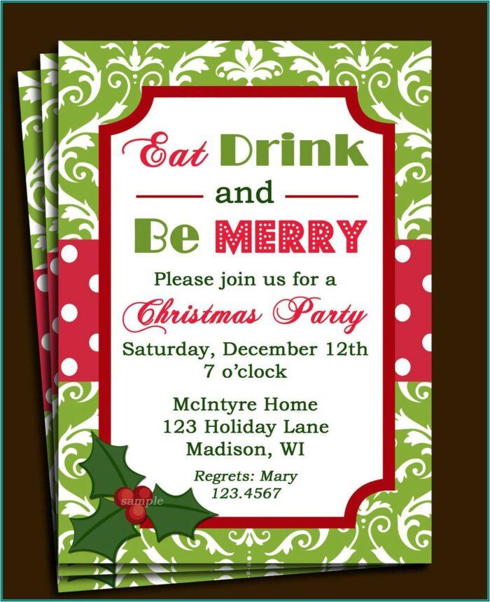 80's Theme Christmas Party Invitation Templates Free
