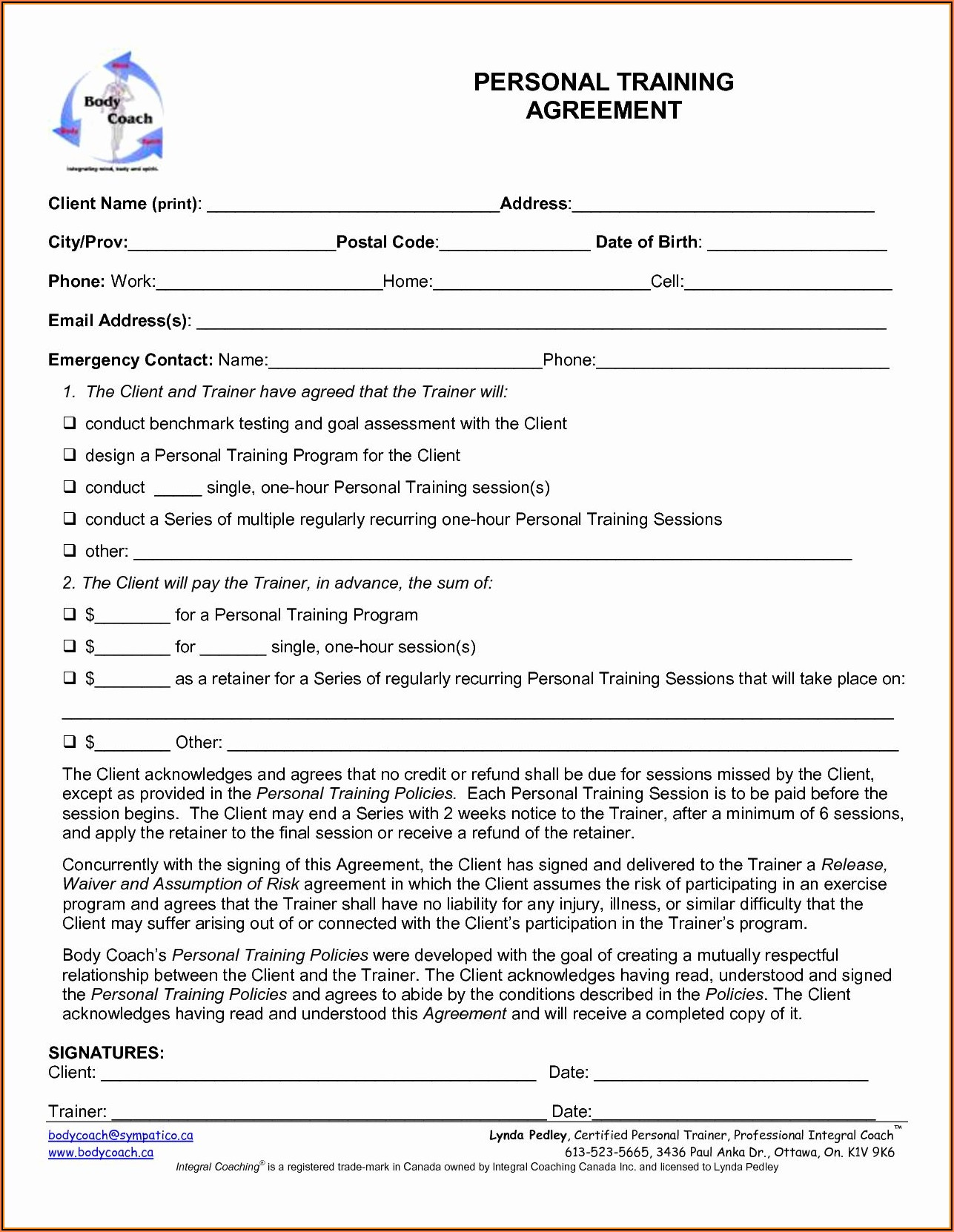 Ace Personal Trainer Waiver Forms