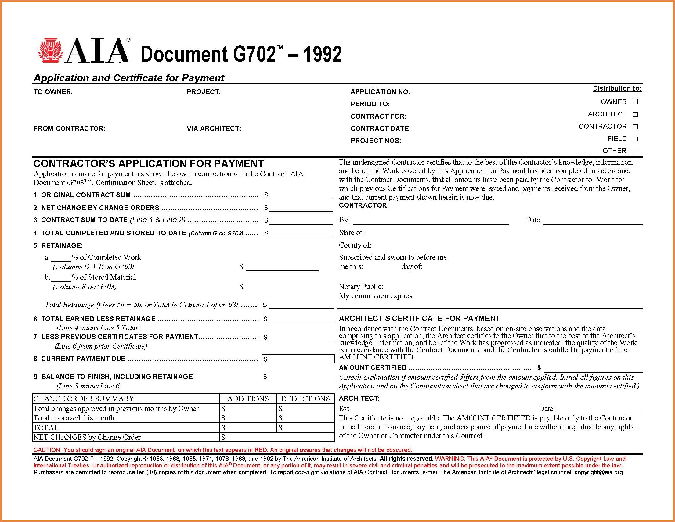 Aia Form G703 Fillable Pdf