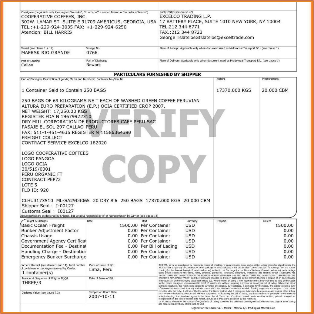Auto Bill Of Lading Form Free
