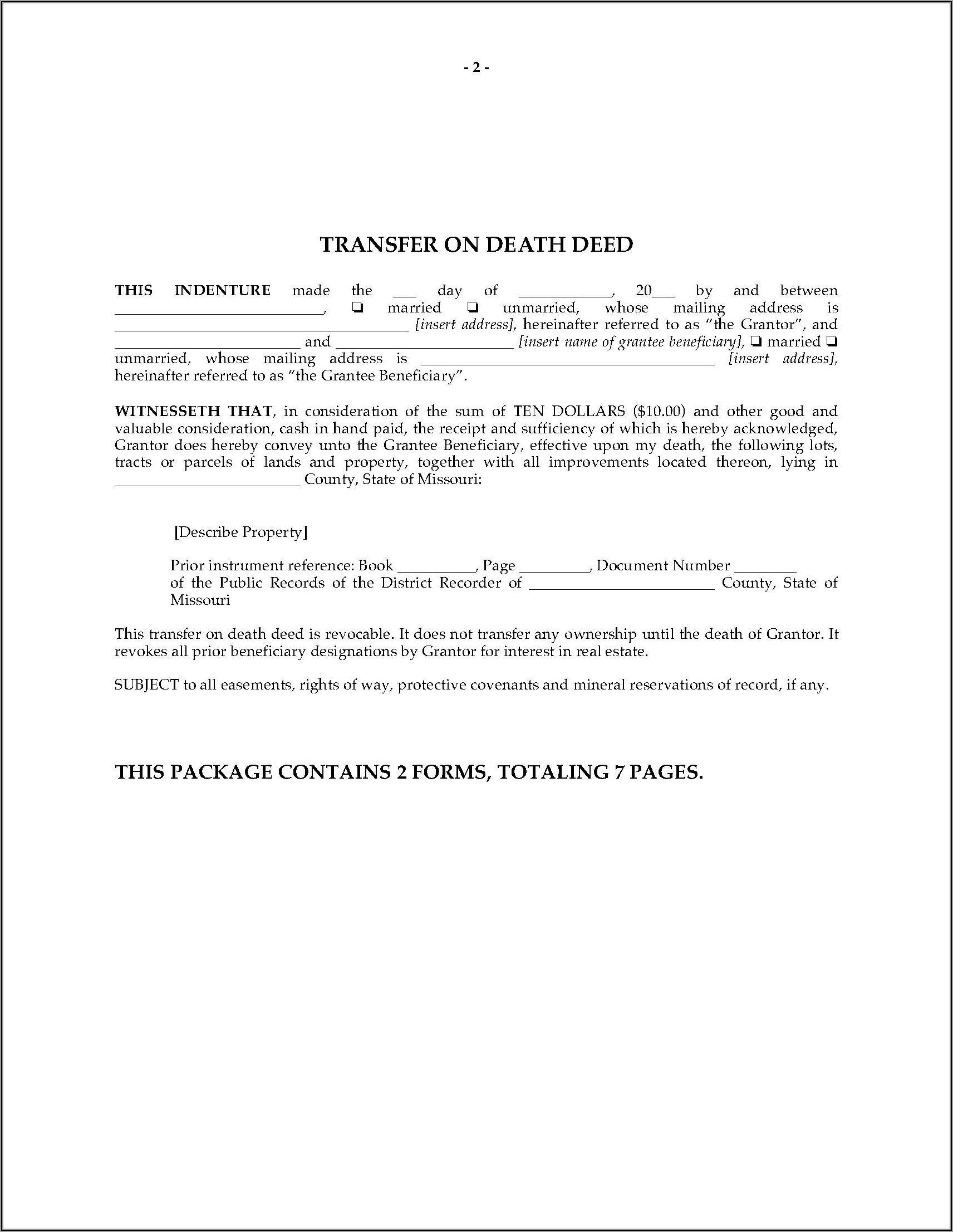 Beneficiary Deed Missouri Form