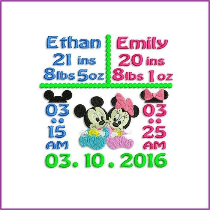 Birth Announcement Embroidery Design Template