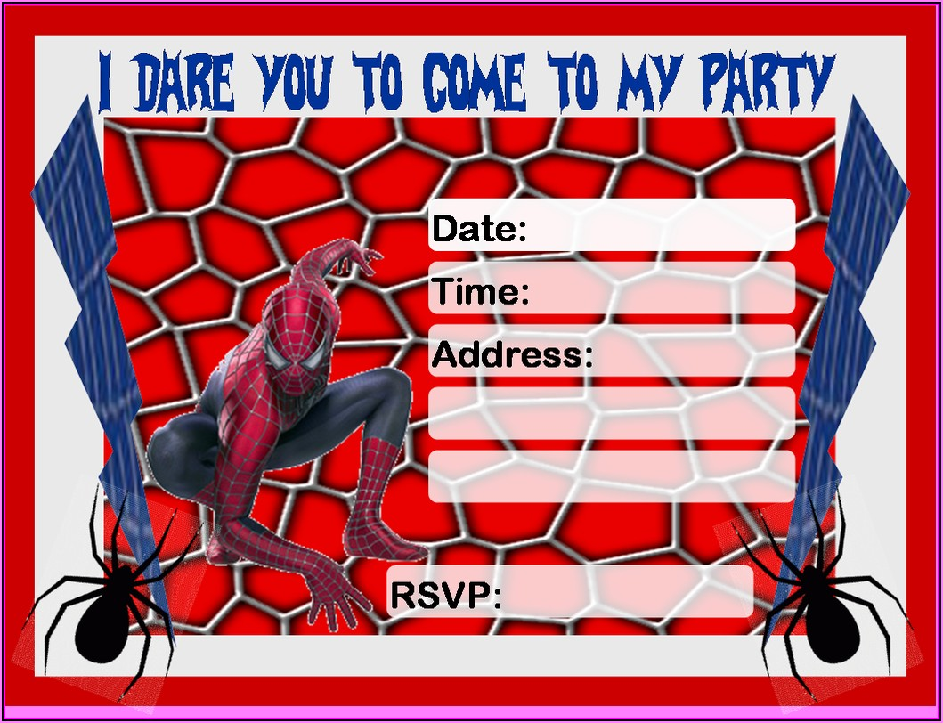 Blank Free Editable Spiderman Birthday Invitation Templates
