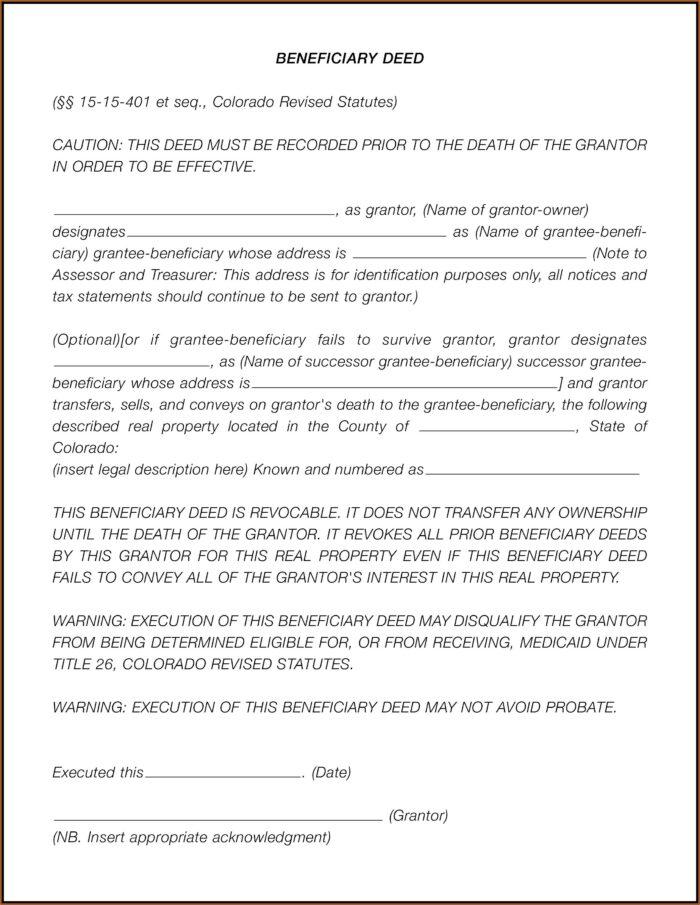 Blank Missouri Beneficiary Deed Form