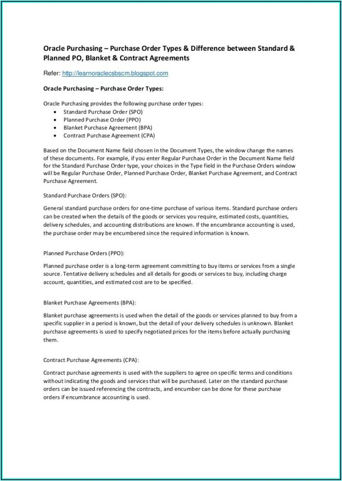 Blanket Purchase Order Agreement Template