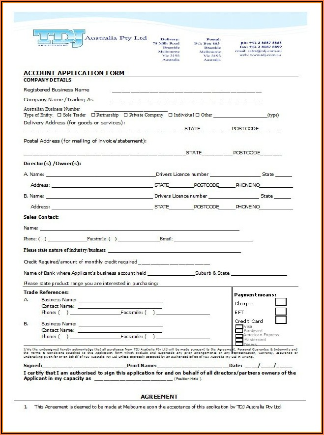 Business Credit Application Form Template Free Australia